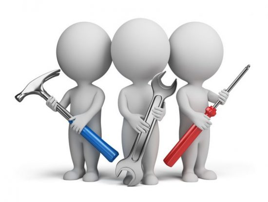 three cartoon men with various tools to represent other services