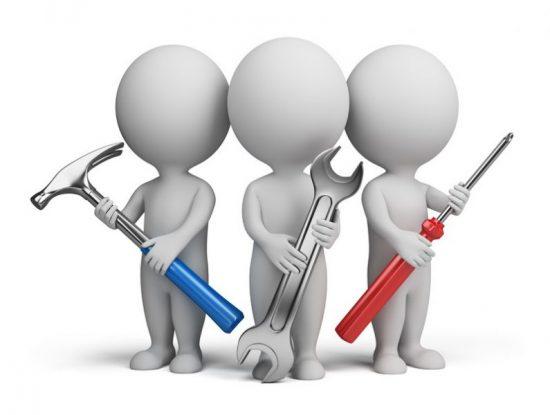 cartoon men with various tools