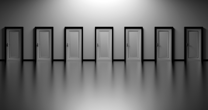Seven closed doors side by side represent the difficulty of choice
